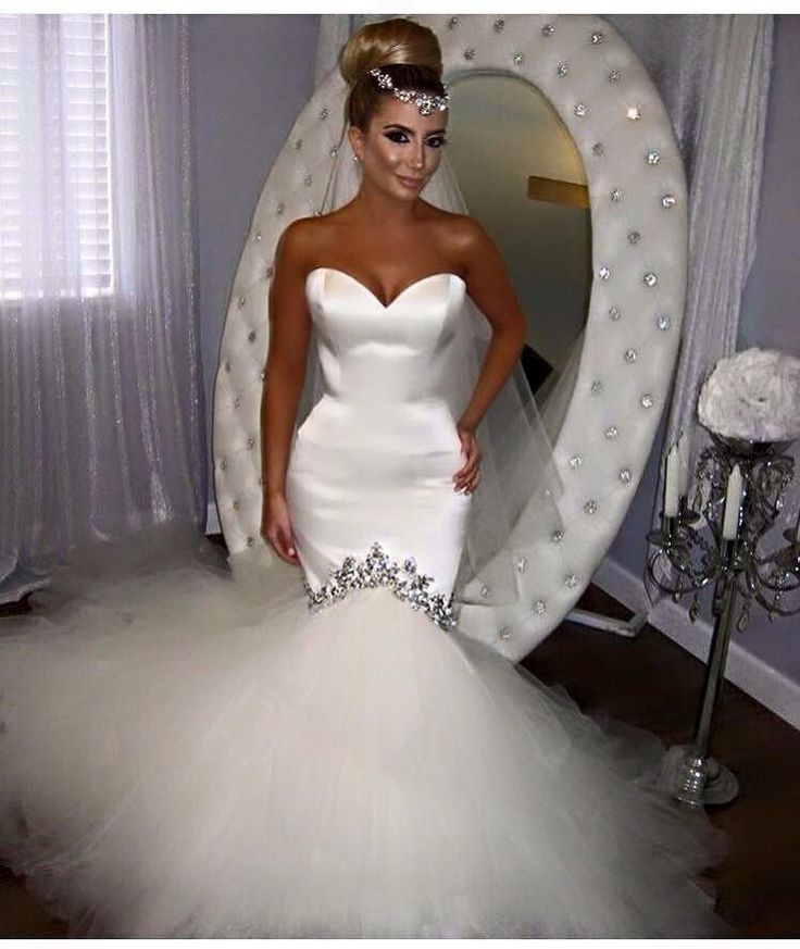 Crystal Beaded Sweetheart Tulle Satin White Mermaid Trumpet Wedding Dress