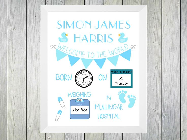 Welcome to the World Baby Boy - Framed Personalised Print to commerate the birth of a baby. Personalised with name of baby date and time of birth, weight at birth and hospital