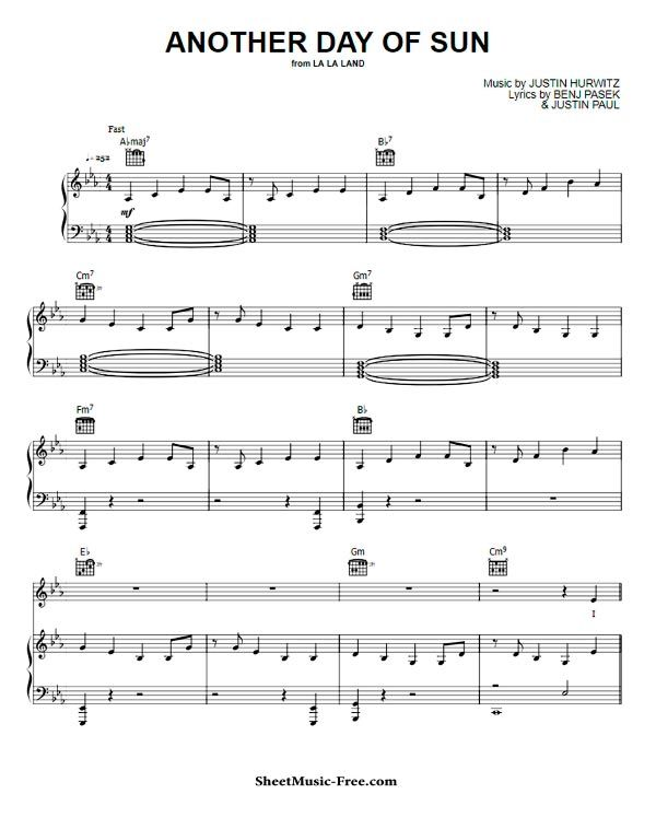 Another Day Of Sun Sheet Music La La Land With Images Sheet