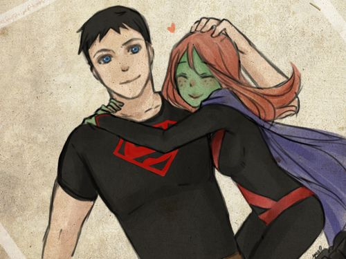 Superboy ( Conner Kent) and Miss Martian (Megan Morse)  Art by eclair-chan