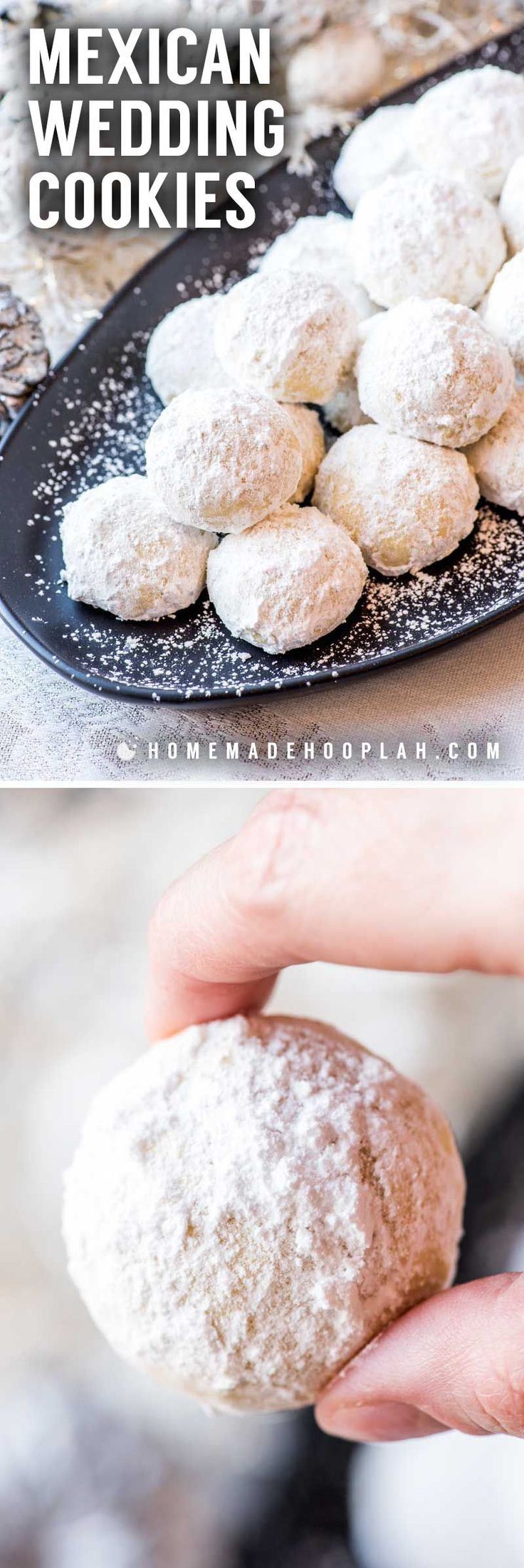Mexican Wedding Cookies! These teacakes go by many names, but the delicious taste remains the same: a sugar-covered almond cookie with a melt-in-your-mouth texture. | HomemadeHooplah.com #MexicanWeddingIdeas