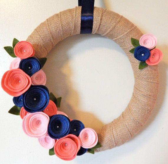 Burlap Wool Felt Flowers WreathModern Door by TheBeautifulDoor
