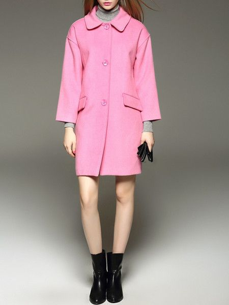 Pink Buttoned Wool Long coat