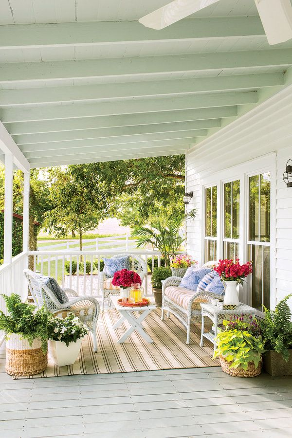 Breezy Porches and Patios. Colorful Front Porch