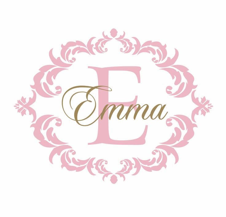 Name and Initial Vinyl Wall Decal Shabby Chic Damask Border Personalized Monogram Wall Decal Girl Baby Nursery Room Wall Art 22Hx28W FS237. $42.00, via Etsy.