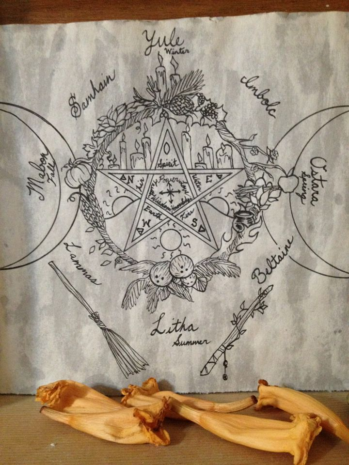 Beautiful integration of Wiccan symbols, elements  seasons