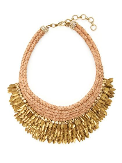 Brass Feather Tiered Necklace by Deepa Gurnani at Gilt