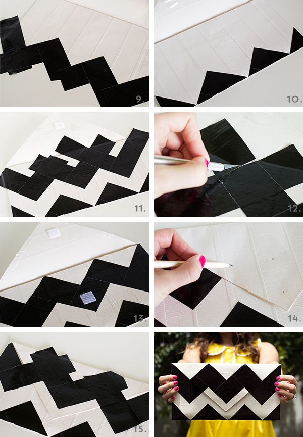 DIY Duct Tape Chevron Clutch Purse by Sarah Hearts