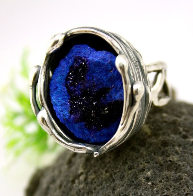 Azurite Ring Sterling Silver Jewelry Blueberry Geode by Izovella, $336.00