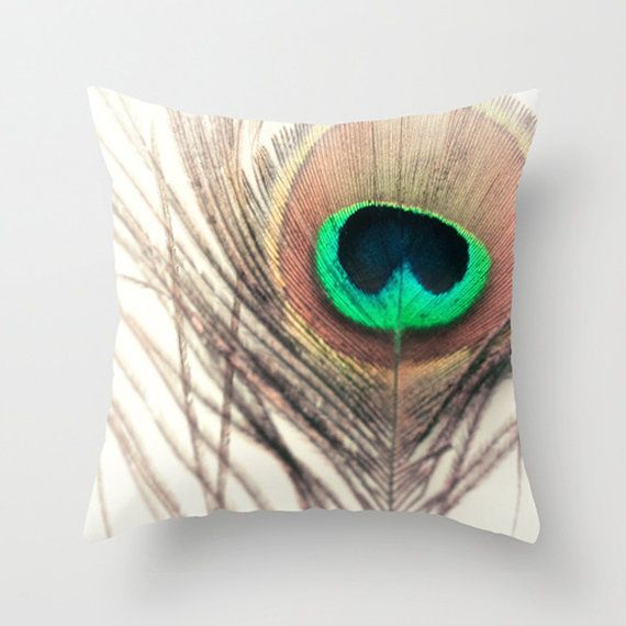 Feather Pillow Cover Peacock Pillow Green Brown by Happy Pillow Shop