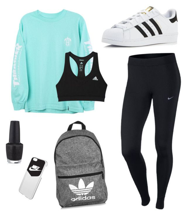 """""""School Clothes #3"""" by lily141 on Polyvore featuring HUF, adidas, NIKE and OPI"""