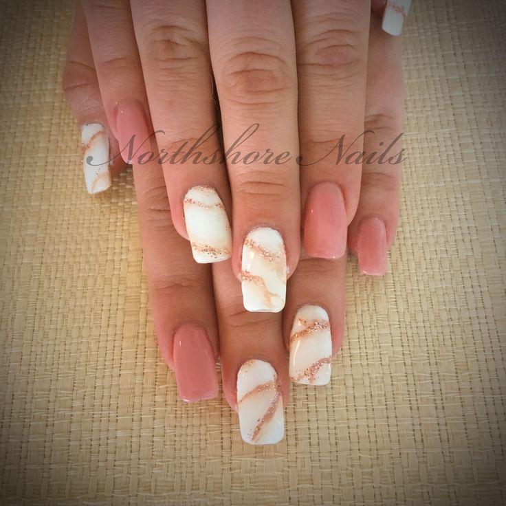 Calacutta Rosato Nude with beautiful marble feature nails!!