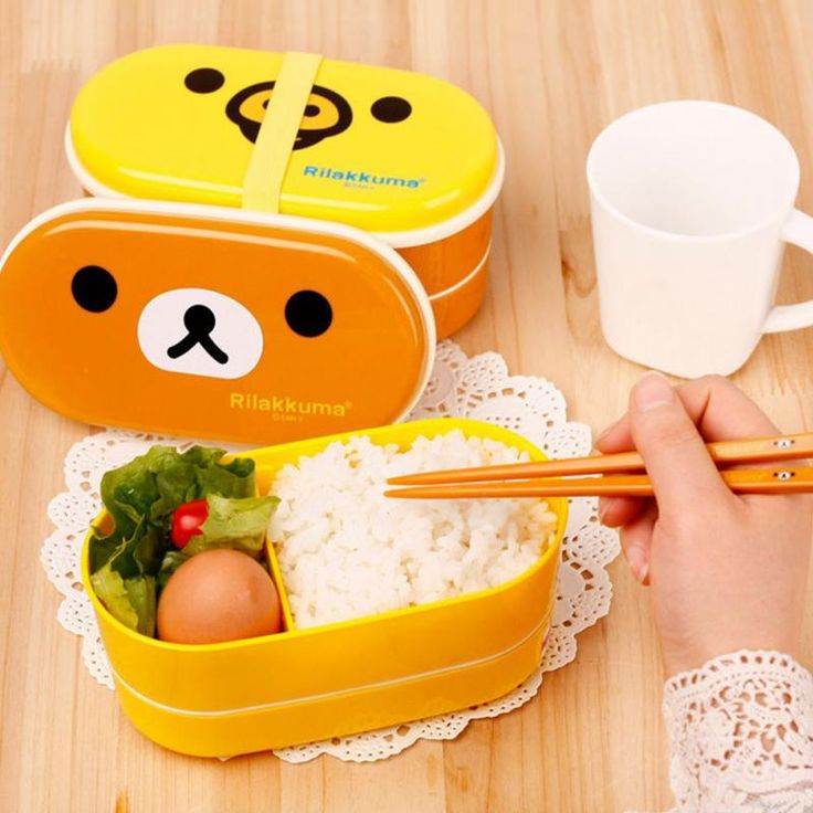 Kawaii Food! Rilakkuma Bento Lunch Box Beautify your lunch with this Kawaii Rilakkuma Bento Lunch Box! - Includes Chopsticks! - Two layers - Makes your lunch time more enjoyable - Size: (Approx) 170 x