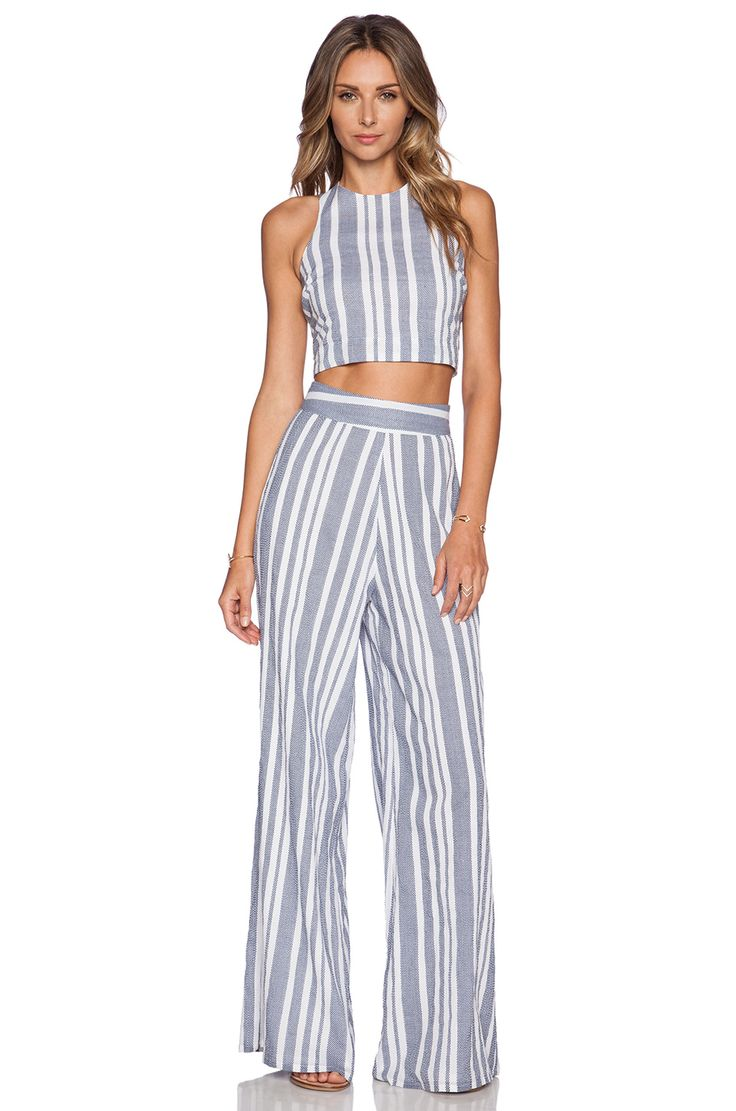 Nikki Reed for REVOLVE Marley Crop Top in Blue & White | REVOLVE