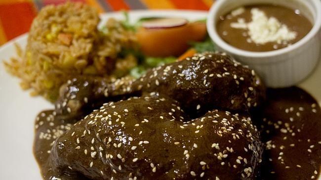 Mexican casserole chicken mole at Los Amates, Johnston St, Fitzroy. Picture: Laura Alicia