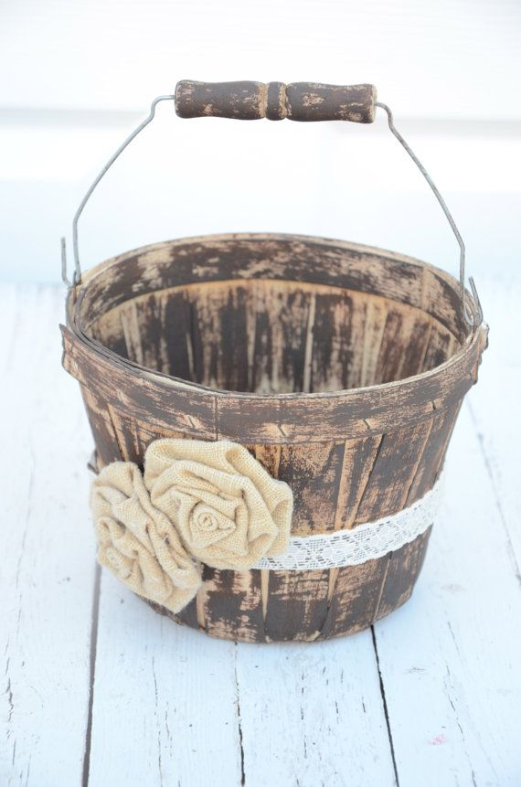Rustic inspired flower girl basket  wedding by BellaBrideCreations, $32.00
