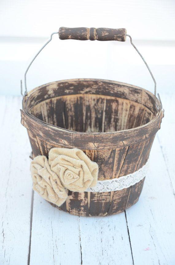 Rustic inspired flower girl basket  wedding by BellaBrideCreations, $32.00