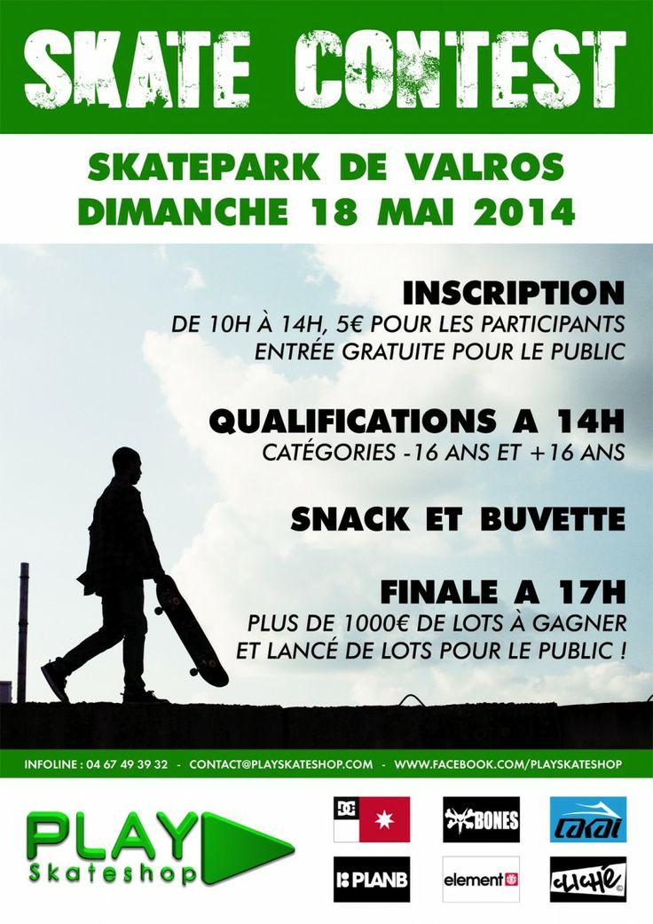 PLAY Skateshop a le plaisir de vous inviter à son contest de skate annuel ! Rejoignez-nous le dimanche 18 mai 2014 au skatepark de Valros (chemin de Lizarot 34290 VALROS). Pour ceux qui viendront découvrir le skatepark, il s'agit d'un streetpark tout en béton, made in Constructo s'il vous plait Il est situé à seulement 10 minutes de Béziers en prenant l'autoroute gratuite A75. Vous y tomberez facilement en suivant les panneaux «complexes sportifs» présent à l'intérieur du village, le…