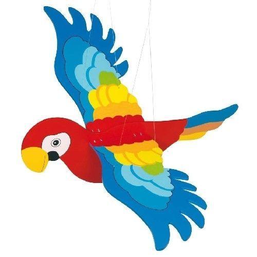 grand volant perroquet avec ailes battement bois suspendus berceau mobile id es classe ou. Black Bedroom Furniture Sets. Home Design Ideas
