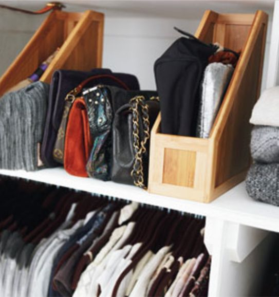 Magazine Holders In Your Closet To Organize Clutches