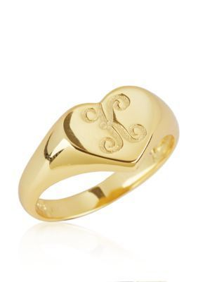 Argento Vivo  K Initial Heart Signet Ring in 18k Yellow Gold over Ster