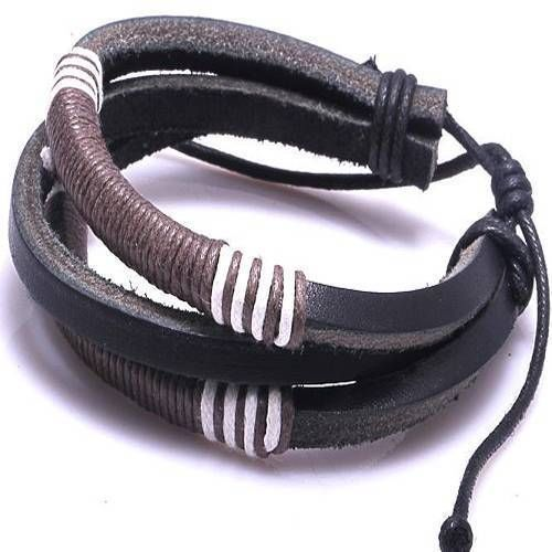 Bamoer New Fashion Hemp Rope Woven Cow Leather Bracelet Men Bangle Wristband  #Bamoer #Bangle