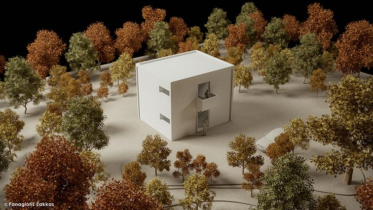 Low-Cost Standardised House 90 sqm, 3D Architectural Model - www.pzarch.gr
