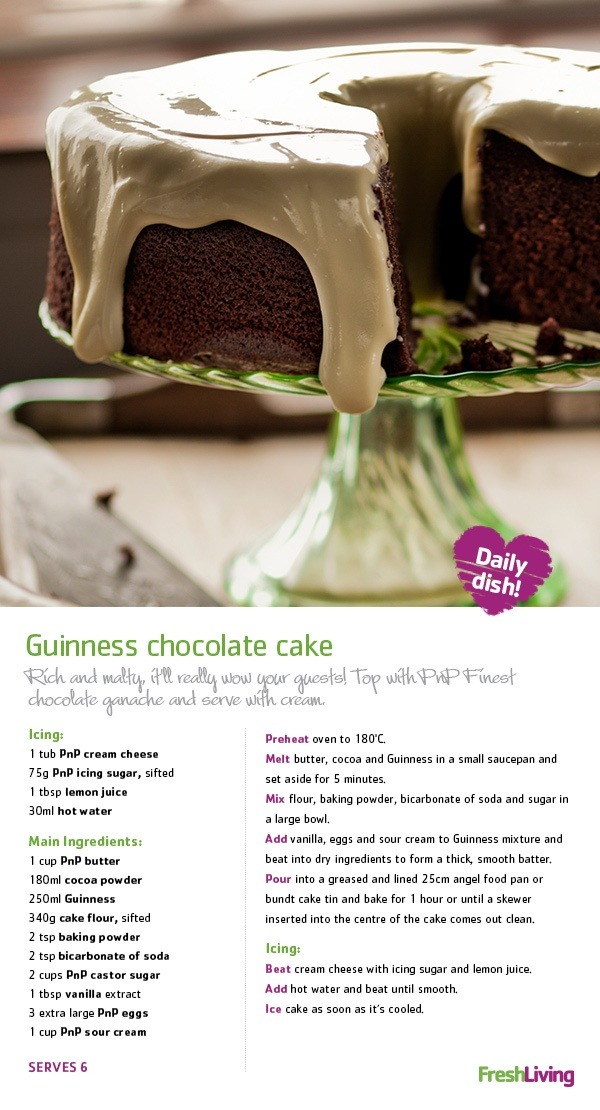 LUCKY DISH: Bring the luck of the Irish into your home this St. Paddy's Day with tangy, stout-infused #chocolate #cake. #dailydish #picknpay #freshliving #stpatricksday
