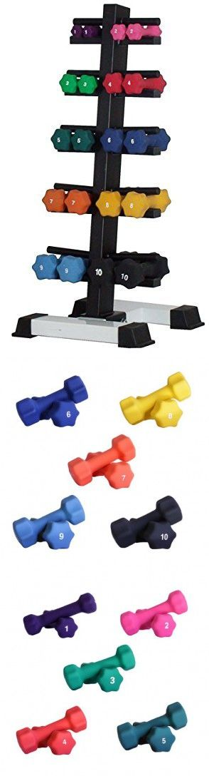 Neoprene Dumbbell Set- 10 Pairs w/ White Rack (Picture for Reference Only)