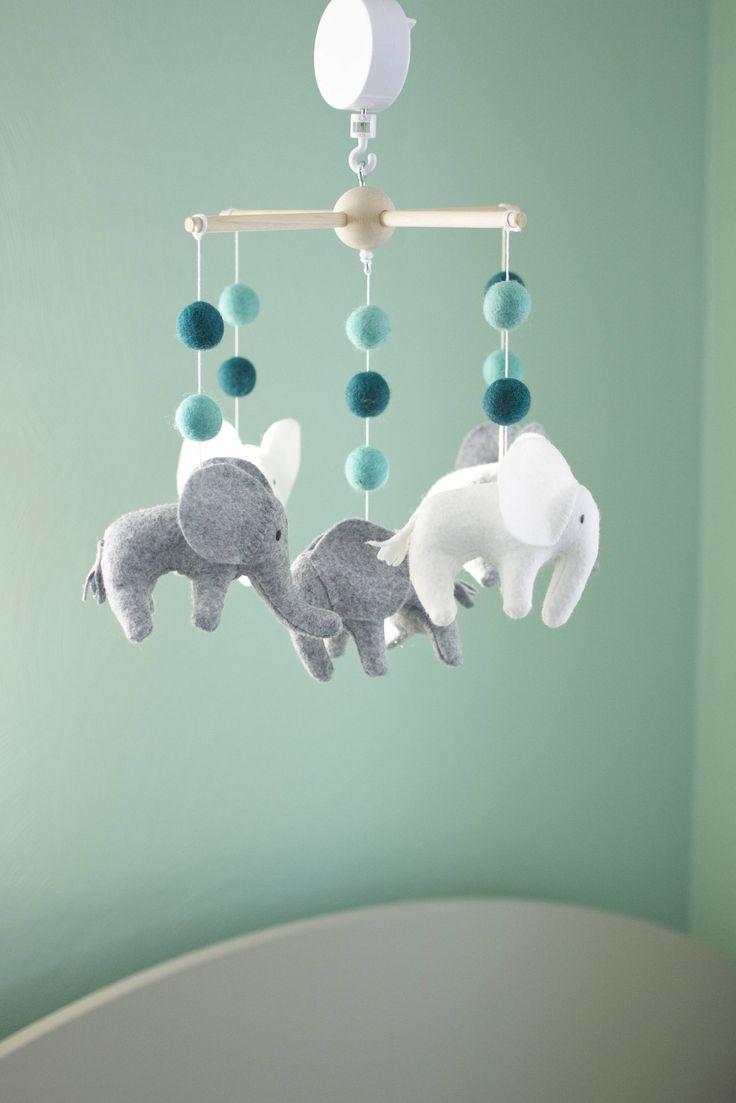 Baby mobile, Elephant mobile, crib mobile, Gray, white and blue nursery, Baby Shower Gift, musical mobile #babyshower #hyggedecor #babymobile