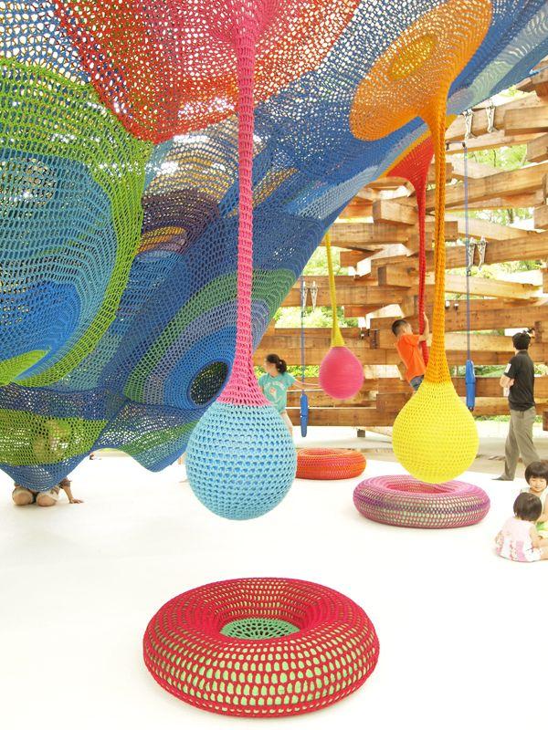 Woods of Net in Hakone, Japan...colourful climbing net playground designed by artist Toshiko Horiuchi Macadam