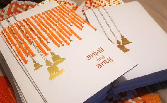 Marigold & Brass Bells Wedding Invitation - Gold Foil - Indian Wedding