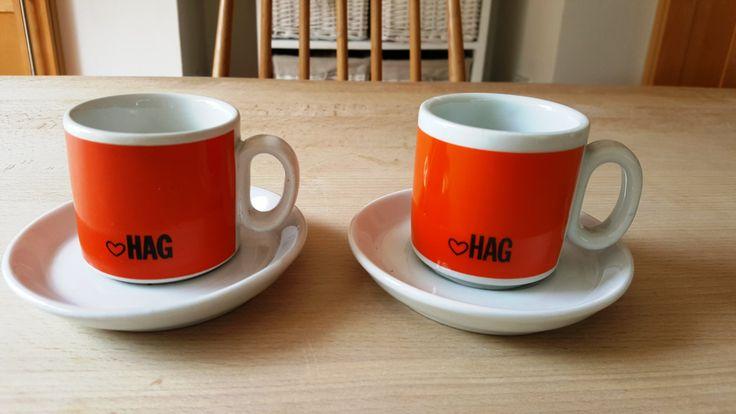 Mid Century Italian Espresso Coffee Cups with Saucers Orange Retro HAG with heart Minimalist Barista 1960s by RetroandRitzy on Etsy