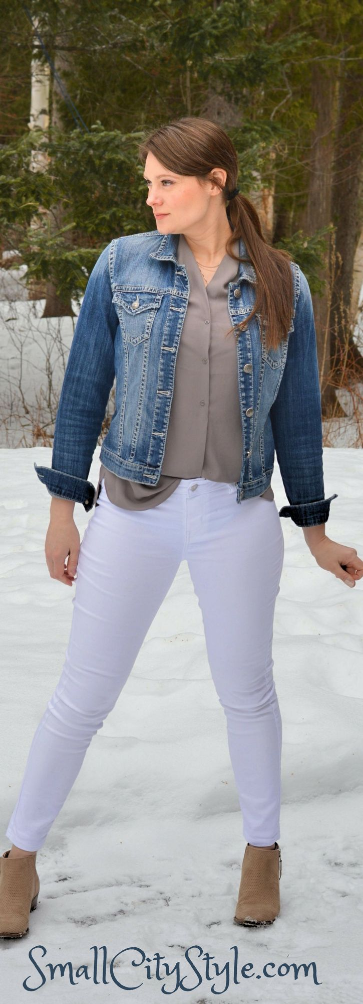 taupe top, white jeggings, neutral ankle boots, denim jacket