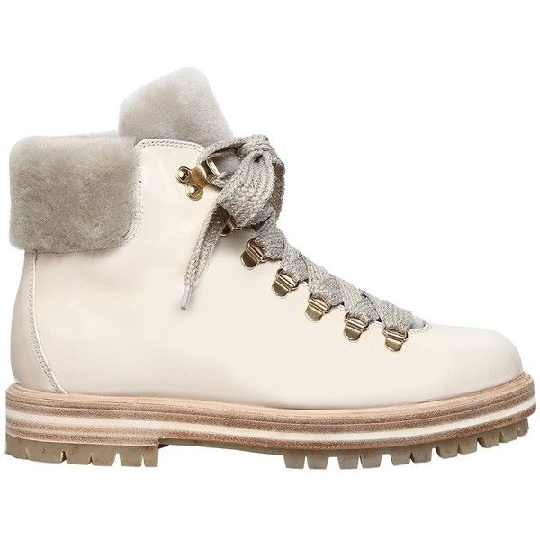 Boots, Shearling boots, White leather shoes