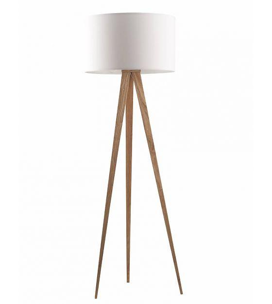 Zuiver Stehlampe Tripod aus aus Holz, natur/weiß, 151x50cm - lefliving.de
