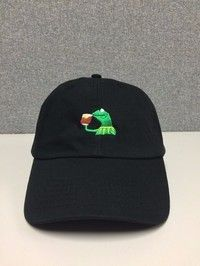 Wish | KERMIT TEA Hat (slide Buckle) None of My Business Emoji King Lebron James Meme (Color: Black) (Color: Black)