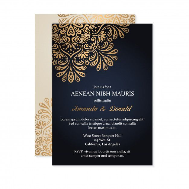 Luxury Wedding Invitation Free Vector Freepik Freevector Wedding Invitation Card Or In 2020 Muslim Wedding Cards Muslim Wedding Invitations Wedding Card Design