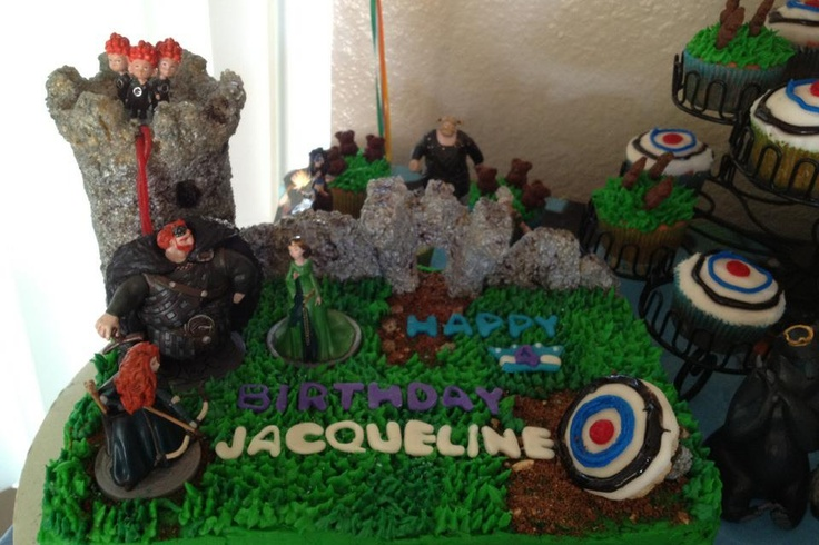 Brave themed party cake & cupcakes.