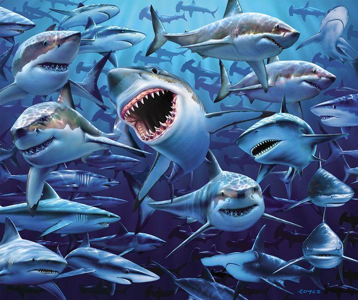 Great White Shark Frenzy Jaws Pool Bath Beach Souvenir Towel Oversize 54x68  #JGRCopa