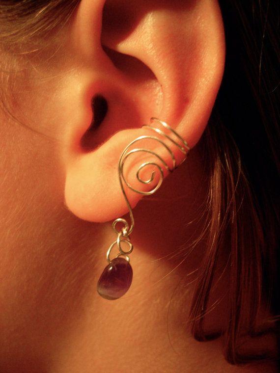 Ear cuffs with genuine amethyst