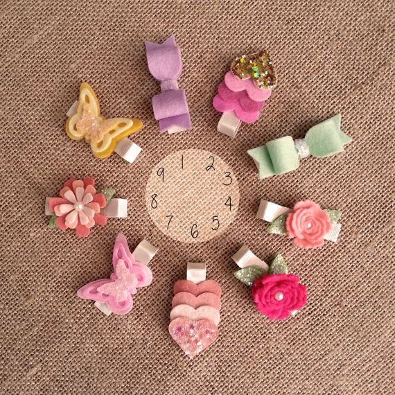 Baby/Girl Glitter Wool Felt hair clip set by by TheButterThatFlies