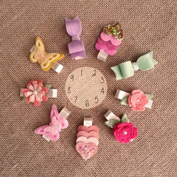 Baby/Girl Glitter Wool Felt hair clip set by TheButterThatFlies