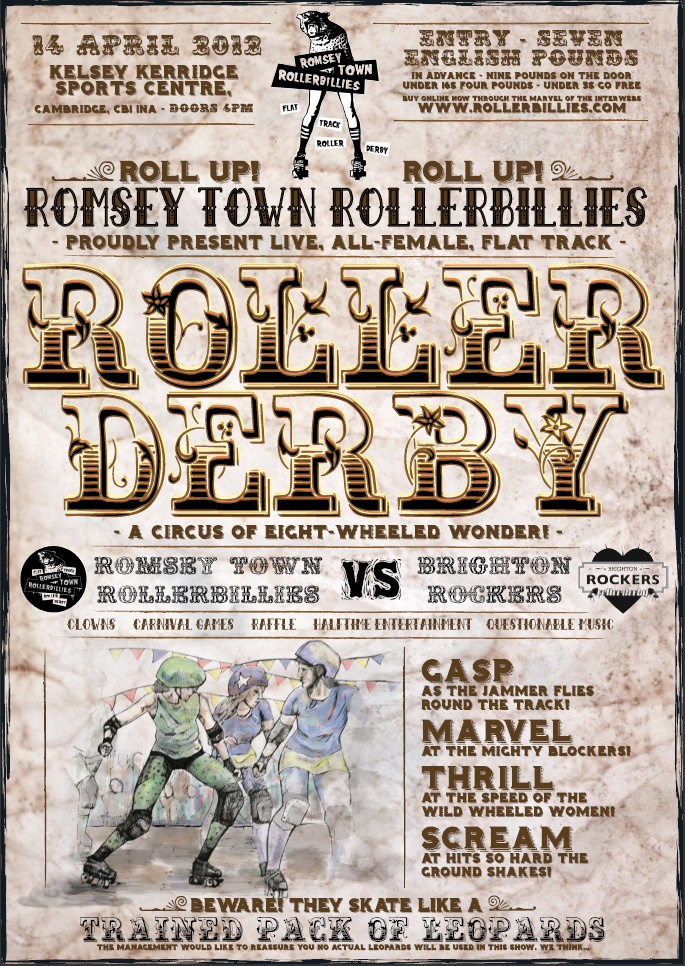 Romsey Town Rollerbillies vs Brighton Rockers  (done by my own fair hand, with illustration by Test Monkey!)