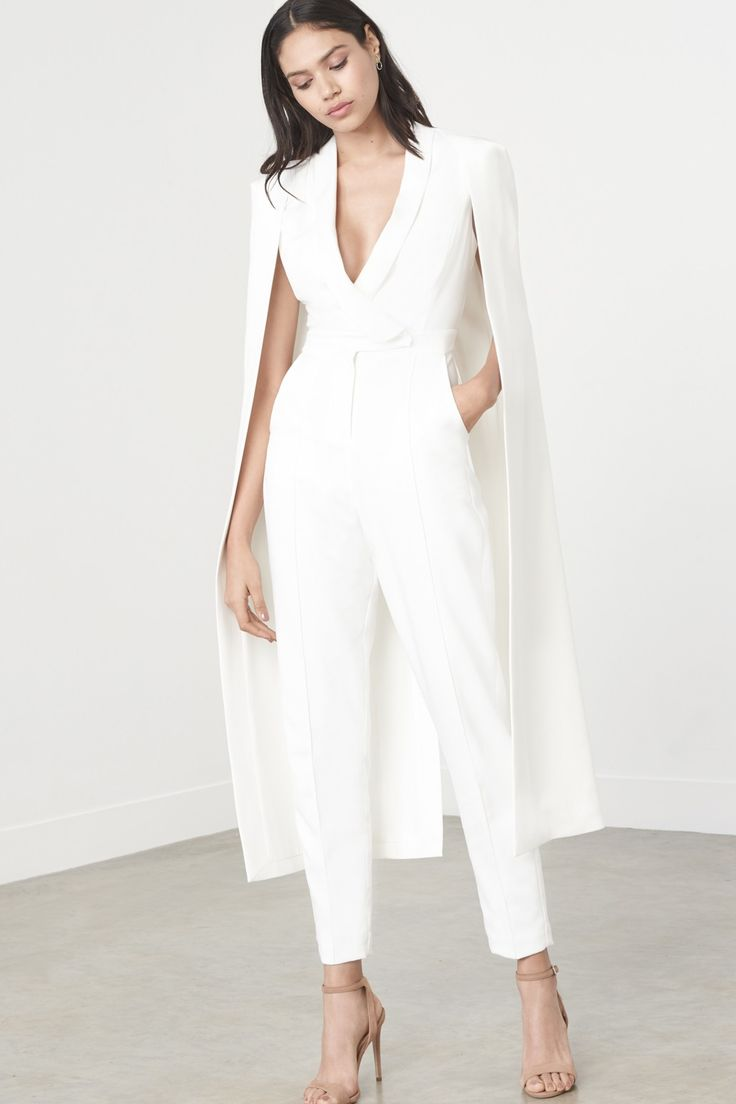 lavish alice off white tailored cape jumpsuit my style. Black Bedroom Furniture Sets. Home Design Ideas