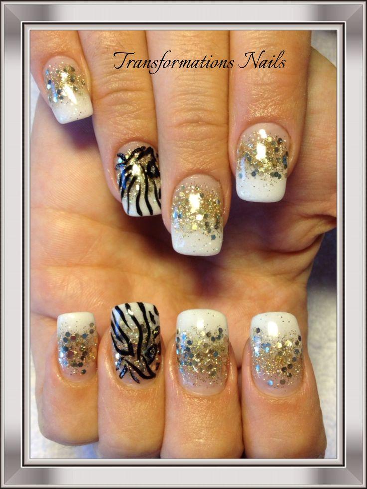 #nails by #transformations Nails. #gold french nail #summer nail #nail art #art #pretty #freehand #shines #sparkle nail