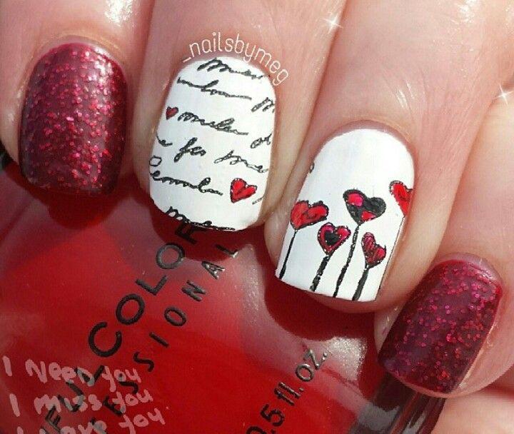 Cute heart mani using moyou princess plate 08