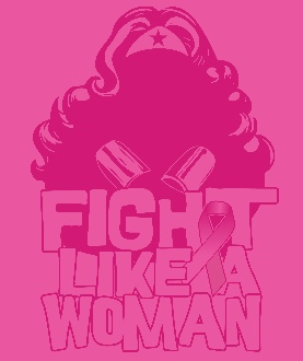 """Cancer is an insidious disease that affects all of us in one way or another. Ones we love have been stricken with it and we are relatively powerless to stop it.    As a symbol of female strength and empowerment, we felt Wonder Woman perfectly embodies the fighting spirit each cancer survivor displays.    We hope that this shirt, in some small way, can carry the message of breast cancer awareness.    This shirt is alternatively available with the line """"Fight Like a Girl"""" instead of """"Fight…"""