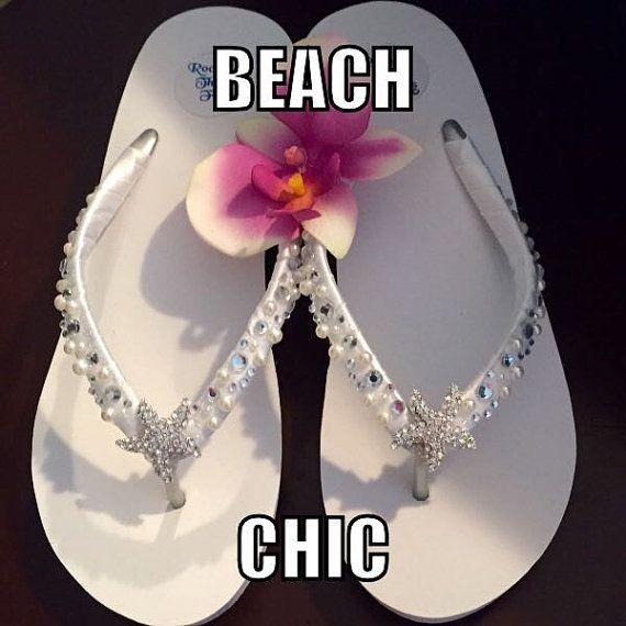 Bridal Flip Flops/Wedges. Wedding Flip Flops/Sandals.White