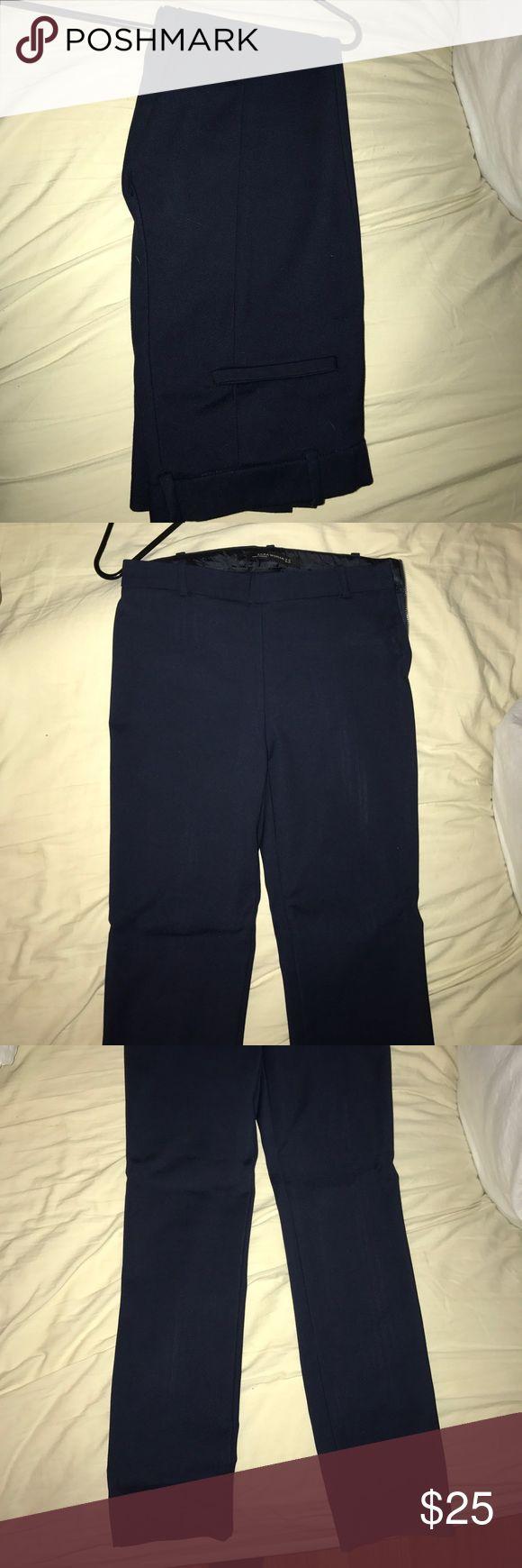 Zara women's navy blue dress pants straight leg Zara women's navy blue dress pants straight leg worn 1 time Zara Pants Straight Leg